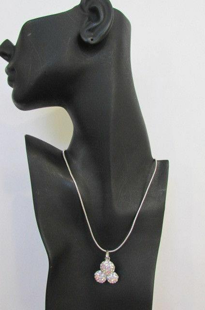 Damen Kurze Modische Halskette Metall 3 Bälle Silber Gold Strass Anhänger Bling image 8