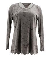 Isaac Mizrahi Velvet Long Slv Scallop Hem Knit Top Shadow Grey XL NEW A3... - $28.69