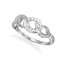 Sterling Silver Triple Link CZ Ring - $34.95