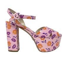 New Prada Pink Patent Leather Floral Ankle Strap Platform Heels Sandals $1290 - $355.00