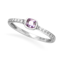 Purple and Clear CZ Silver Ring - $29.99