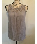 CHLOE K Women's blouse sleeveless, gray with lace, knot in the back, Size S - $9.99