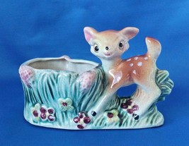 Vintage Shafford Deer Ceramic Vase Fawn Stump Pot Flowers Plants Planter... - $23.05 CAD