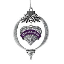 Inspired Silver Plum Mom of Bride Pave Heart Holiday Decoration Christmas Tree O - $14.69