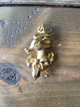 Gold Tone Christmas Reindeer Brooch - $5.93