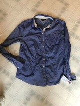 Ladies Tommy Hilfiger long sleeve blue solid button down blouse size large - $16.69