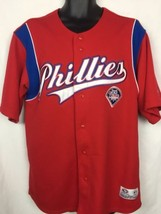 Philadelphia Phillies MLB Baseball Red Button Up Embroidered S/S Shirt S... - $19.99