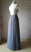 GRAY Elastic High Waisted Full Midi Tulle Skirt Plus Size Bridesmaid Midi Skirt image 4