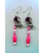 long dangle dragon earrings pink glass wood bead drops fantasy jewelry h... - $2.50