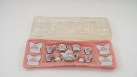 13 Pc 1970s Porcelain Child's Doll Pretend Play Tea Dish Set w/ Butterfl... - $24.70