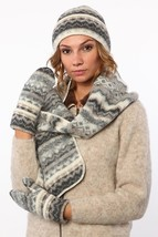 Soft Warm Double - Cuff Toque Scarf And Mittens Set made from Icelandic ... - $2.717,34 MXN