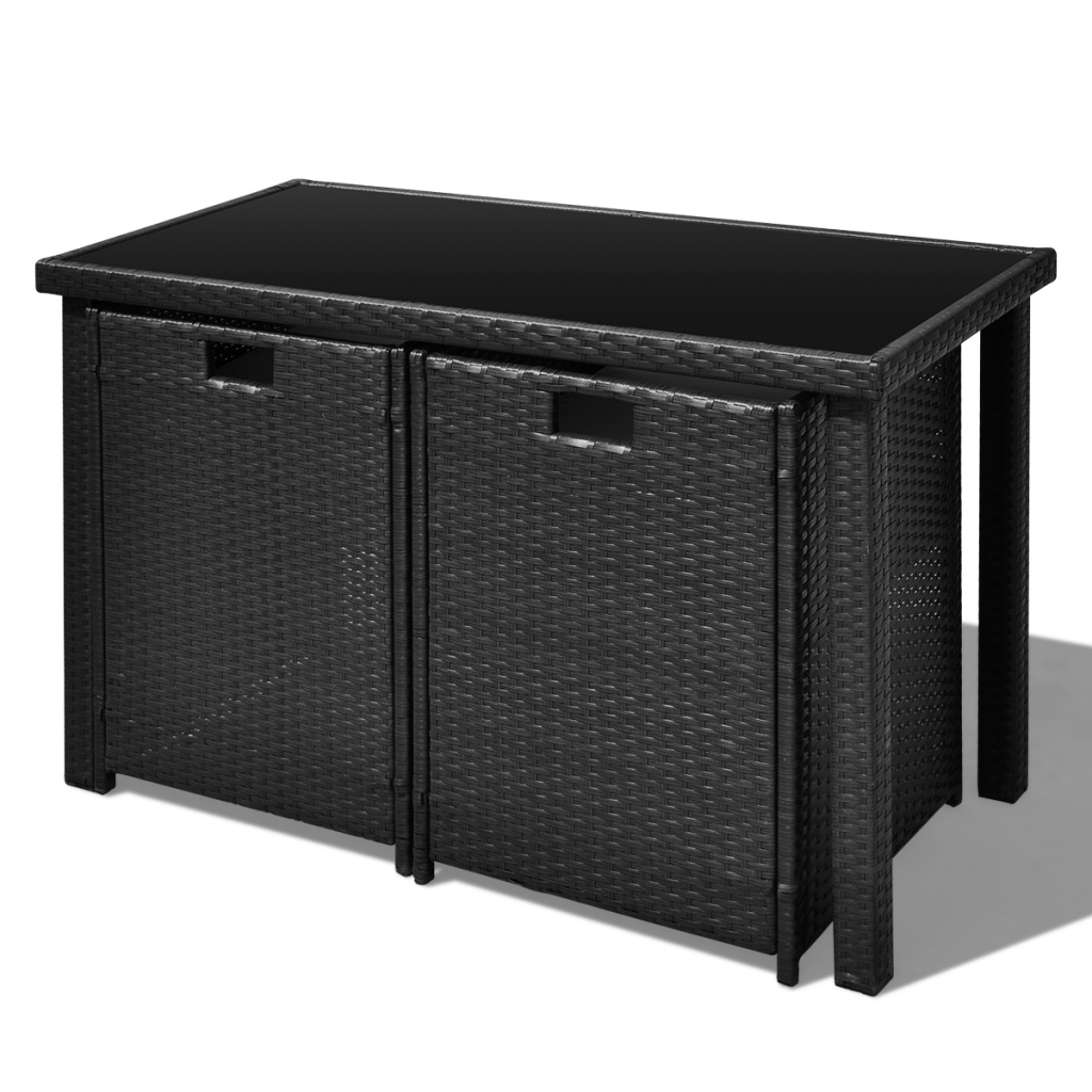 Outdoor Patio Rattan Dining Set Garden Cube Storage Table 2 Chairs 2 Stool Black