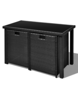 Outdoor Patio Rattan Dining Set Garden Cube Storage Table 2 Chairs 2 Sto... - $332.79