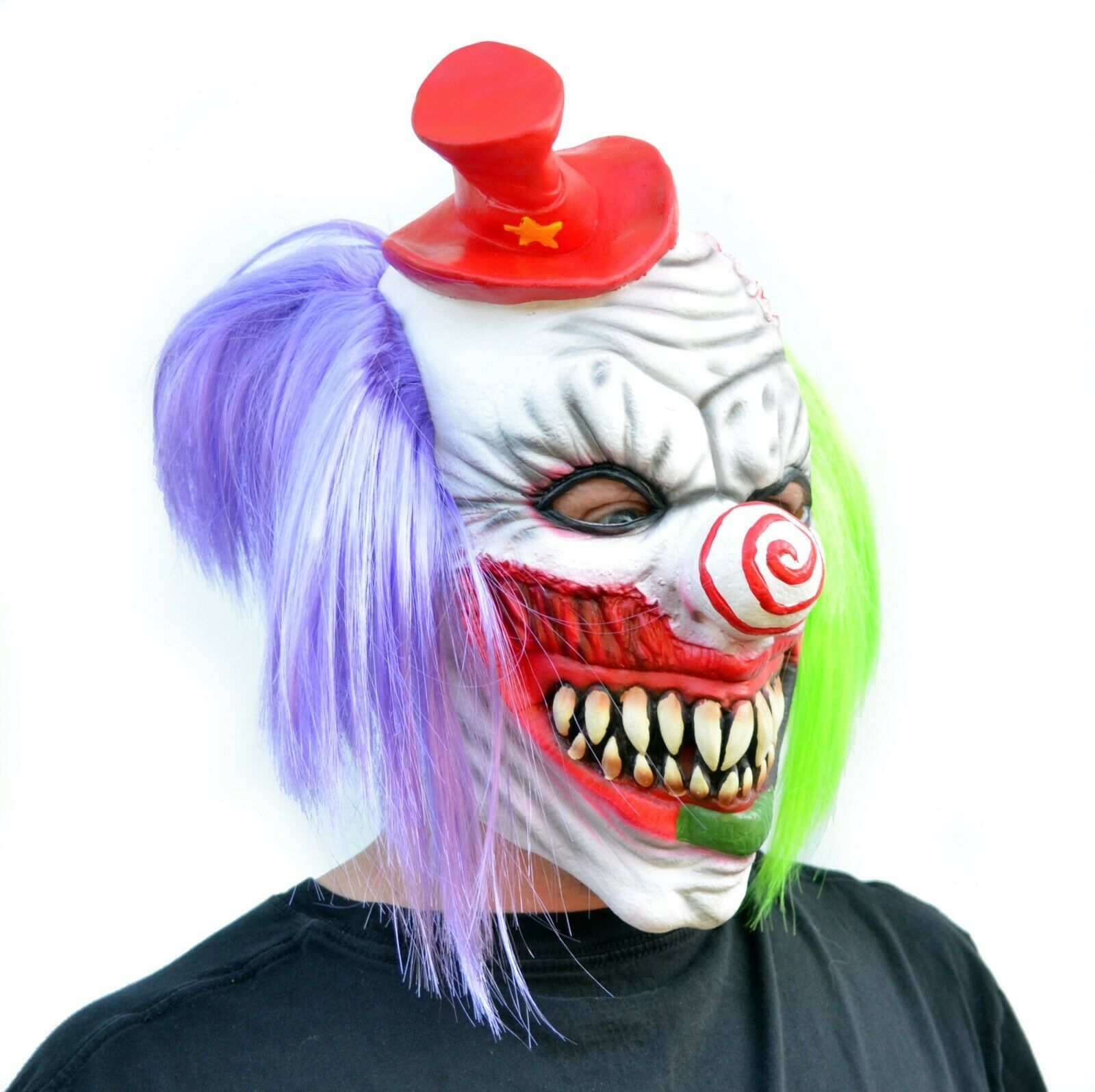 Evil Halloween Clown Mask Costume Party Mask with Hair Killer Psycho the Clown image 2