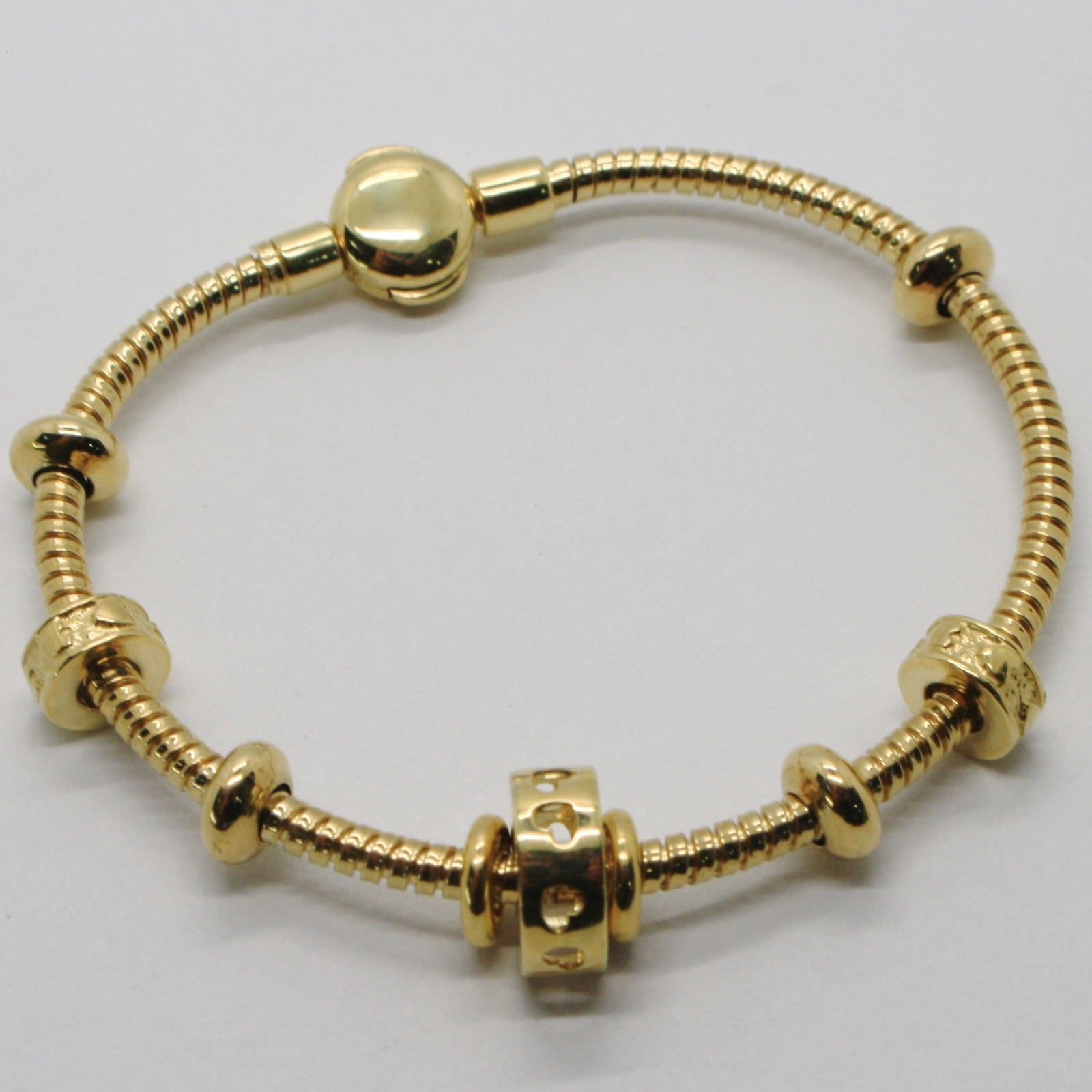 BRACELET EN OR JAUNE 18K 750 SEMI RIGIDE POLI AVEC INSERTS MADE IN ITALY