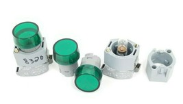 LOT OF EAO 704.950.0 LAMP SOCKETS W/ 704.950.5 MOUNTING FLANGES GREEN LENSES image 1