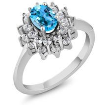 1.45 Ct Oval Natural  Blue Topaz Gemstone Rings 925 Sterling Silver Fine... - $67.18+