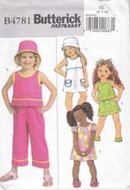 Butterick B4781 Girls Sewing Pattern Tops Dress Skirts Pants Hat Kids Si... - $6.25