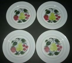 Hazel Atlas Hand Painted Milk Glass Fruit Plates Pear Strawberry Cherrie... - $30.84