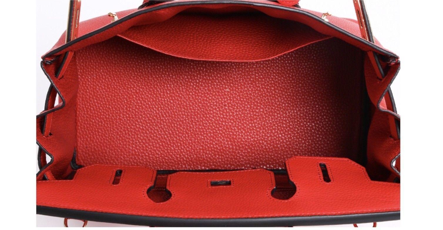 35cm Pebbled Italian Leather Lock and Key Birkin Style Handbag Satchel 1946L