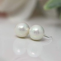 8mm Round Simulated Shell Pearl, Invisible Clip On Earrings for Non-Pier... - $26.44