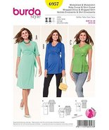 Burda Sewing Pattern 6957 Maternity Misses Size 8-20 Knit Front Wrap Dre... - $13.72