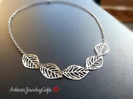 Silver Leaves Necklace Skeleton Leaves Necklace Silver Filigree Leaves N... - $35.00+
