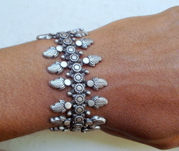 traditional design silver cuff bracelet bangle handmade jewellery rajasthan - $187.11
