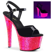 "PLEASER Sexy Womens 7"" Heel UV Reactive Hot Pink Glitter Platform Stripp... - $69.95"