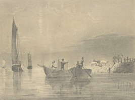Catherine Gunnell - Late 19th Century Graphite Drawing, Harbour Netting - $37.77