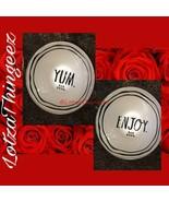 "Rae Dunn YUM & ENJOY Ivory Pearl & Navy Salad Bowls 6""x3"" New with tag - $34.64"