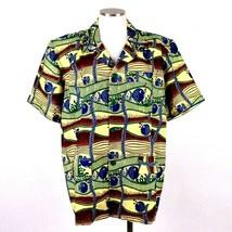 Vtg 90s Fish Print Button Shirt Short Sleeve Top Pockets Shoulder Pads W... - $24.74