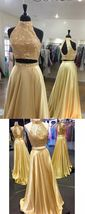 sparkly gold long prom dress, 2018 prom dress, two piece long prom dresses - $199.00