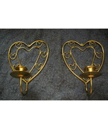 Home Interiors Brass Heart Sconce Pair Homco - $7.99