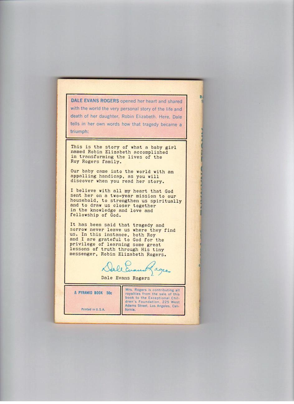 Angel Unware By Dale Evans Rogers 4th printing 1965