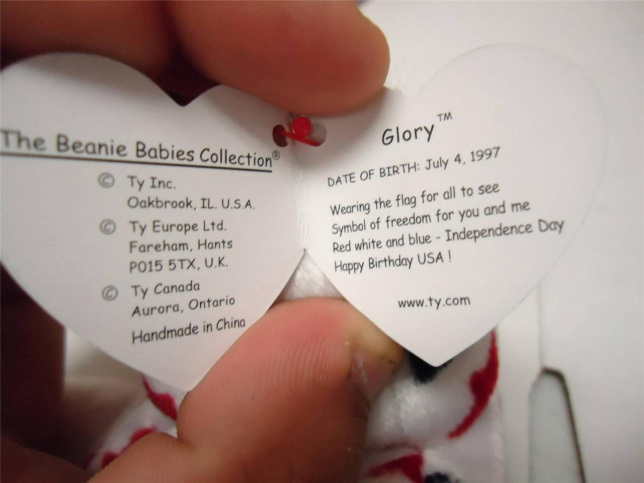 Ty Beanie Babies with Tags Patriotic Bundle Glory 1998 and Spangle 1999 Pair
