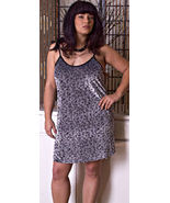 Silver Black Burnout Velvet Nightgown Slip Chemise L Short Gown   - $16.75