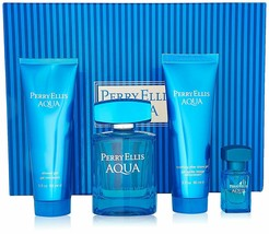Perry Ellis Aqua by Perry Ellis for Men 4 Piece Gift Set New In Box RARE - $84.99