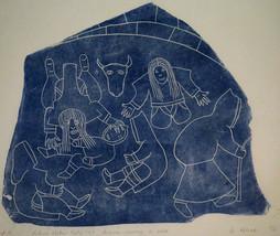 HELEN KALVAK Inuit Stone Cut Print Sorcerers Nursing Child 1968 Holman I... - $199.99