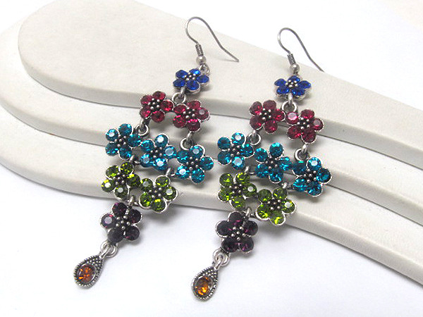 Primary image for Stunning Multi Crystal Flower Cluster Chandelier Dangle Earrings