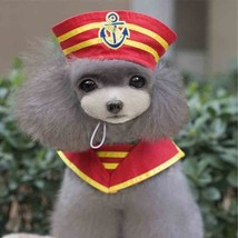 Pet Sailor Uniform Set Hat Cape Scarf Suit Animal Costume Cute Party Clo... - €13,94 EUR