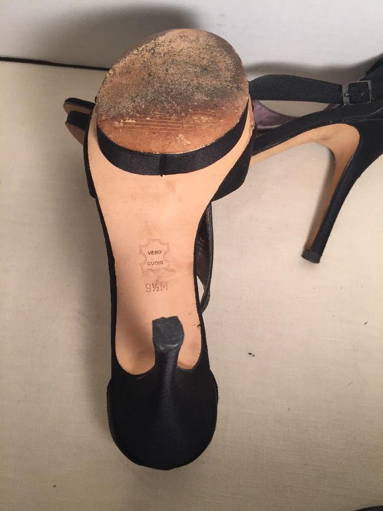 Glint Gillian Sequin Heel Sandal Platform Black Sz 9.5 Sling Back
