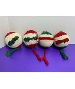 """Set of 4 Crochet Christmas Ornaments Styrofoam Center White Red Green 3"""" - $4.94"""