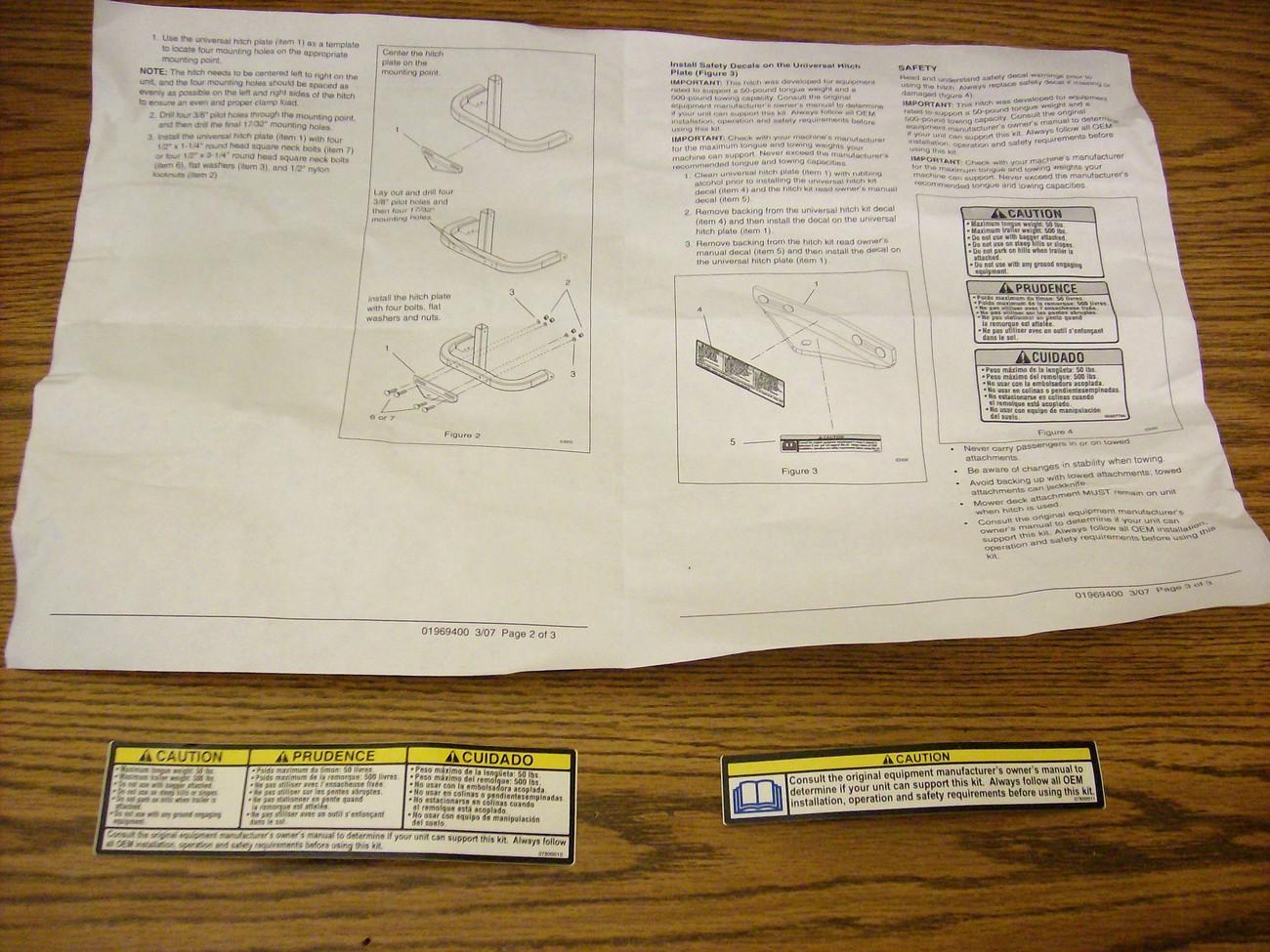 Exmark Lazer Z, Phazer lawn mower hitch 1-631665, 1-651234