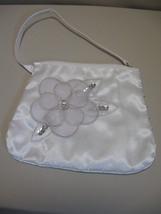 Small Handbag Avon Hand Strap White Material Zipper Gray Flower Sequins - $9.95