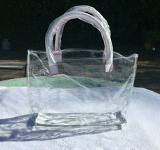 Clinique Logo Clear Plastic Purse with Handles Bag - $22.44