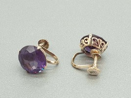 Vintage Retro 14K 14Ct gold synthetic Alexandrite Earrings,screw back studs - $156.00