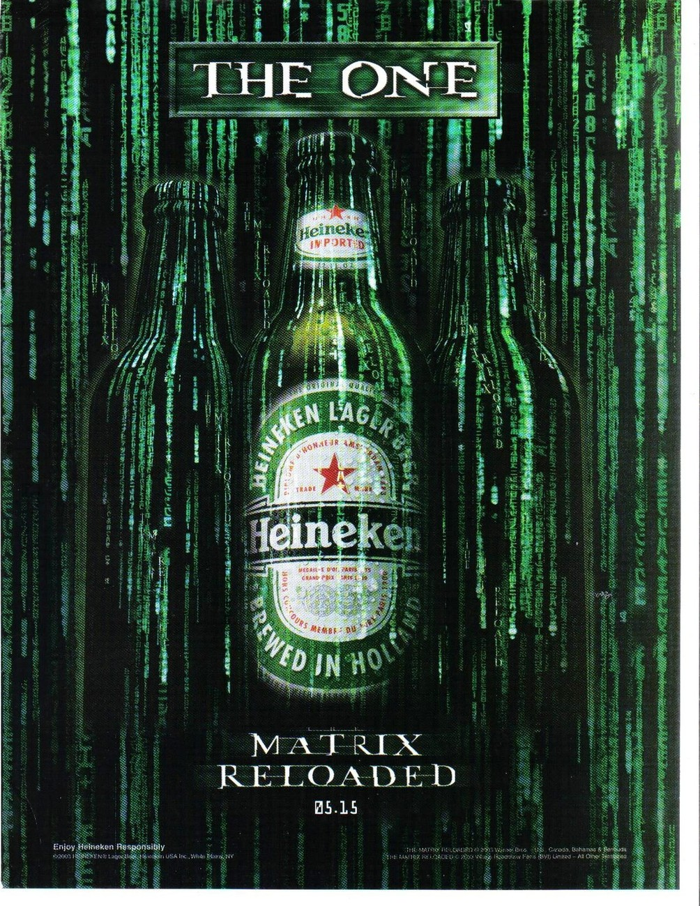 Primary image for Heineken The One Matrix Reloaded Full Page Original Color Print Ad Very Good