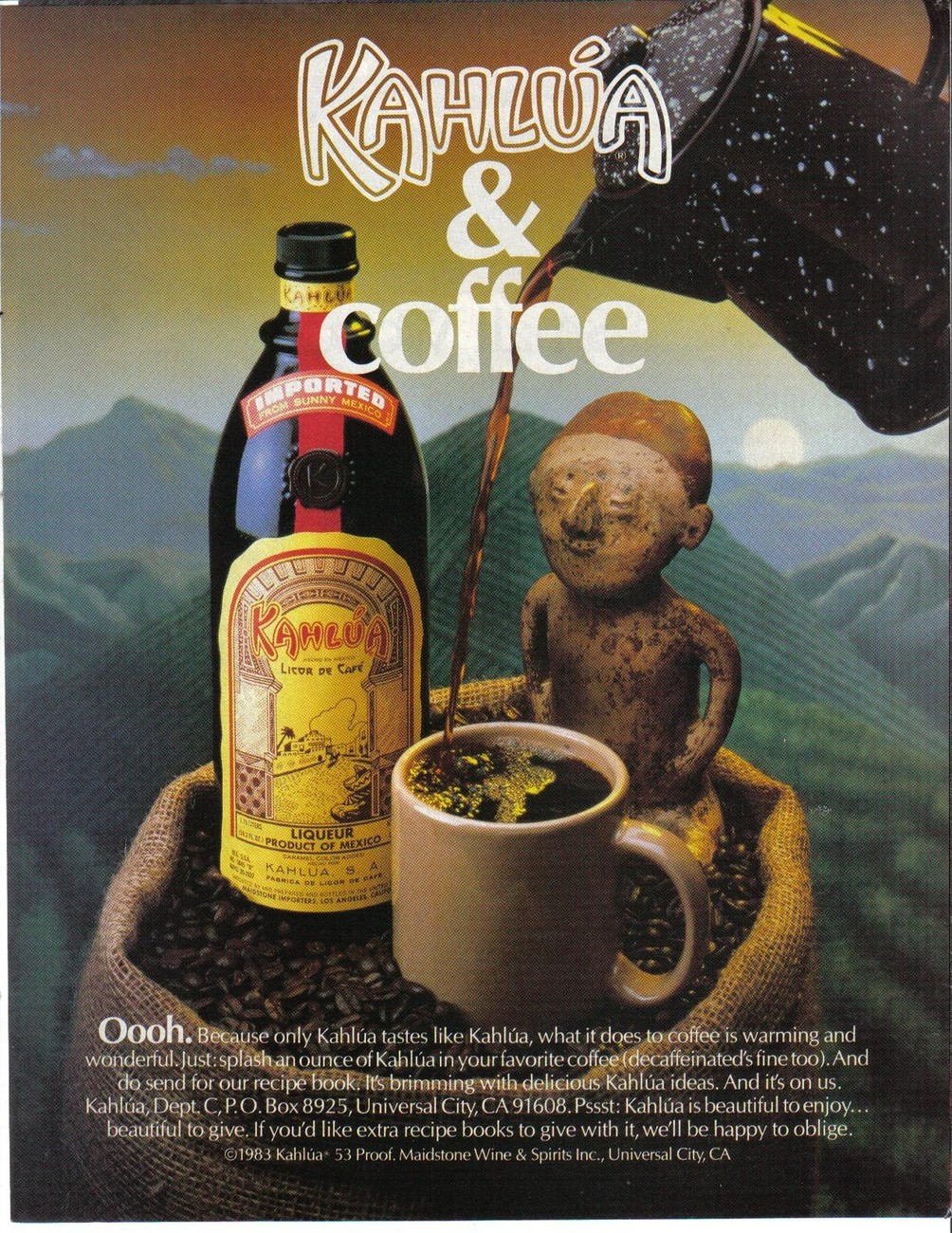 Primary image for Kahlua 1983 Full Page Original Color Print Ad Kahlua & Coffee Near Mint