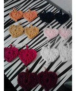 Crochet Heart Earrings/Set of 7/Various colors - $20.00